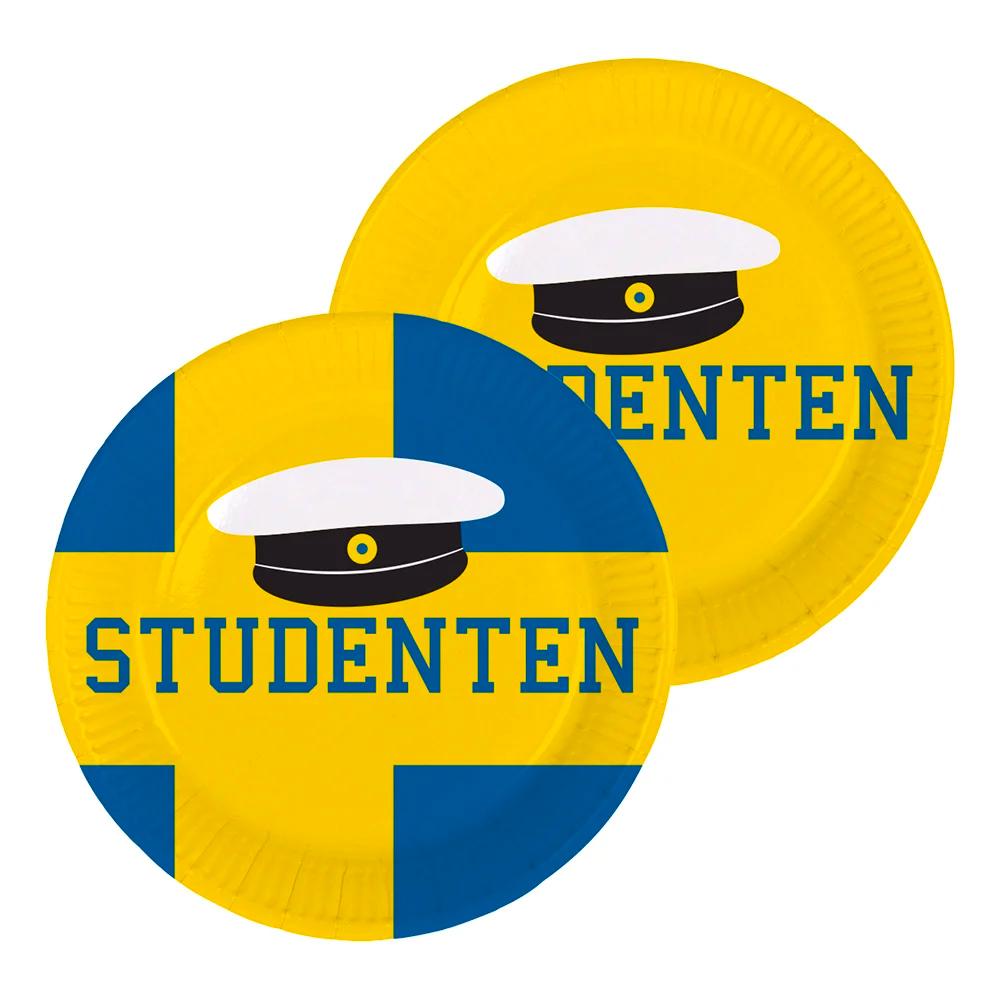 papperstallrikar Studenten Blå/Gul