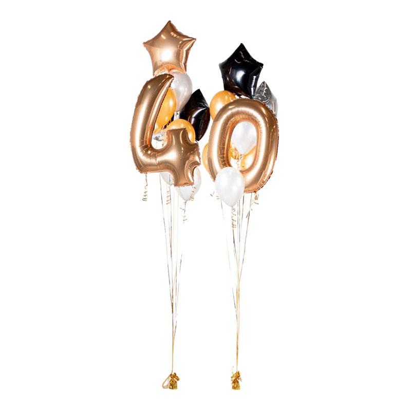 Ballongbukett Happy Birthday 40 Guld