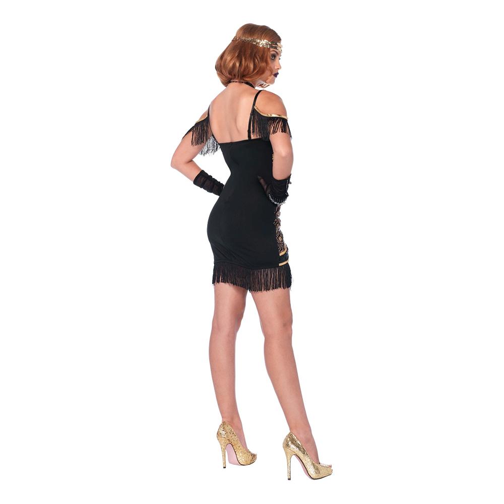 Gatsbyklänning GuldSvart Deluxe Maskeraddräkt Small