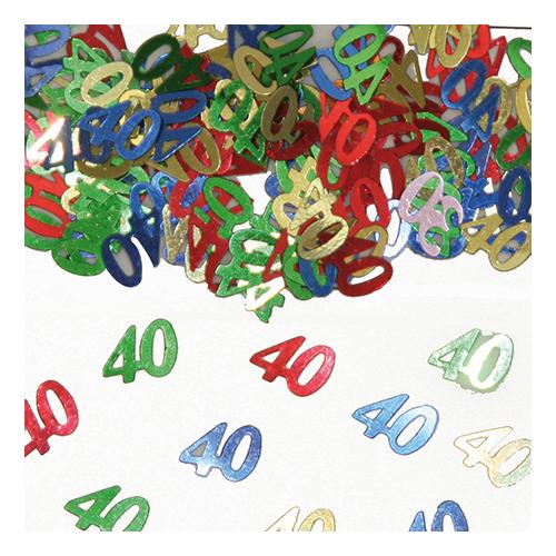 Konfetti Siffra 40 Flerfärgad