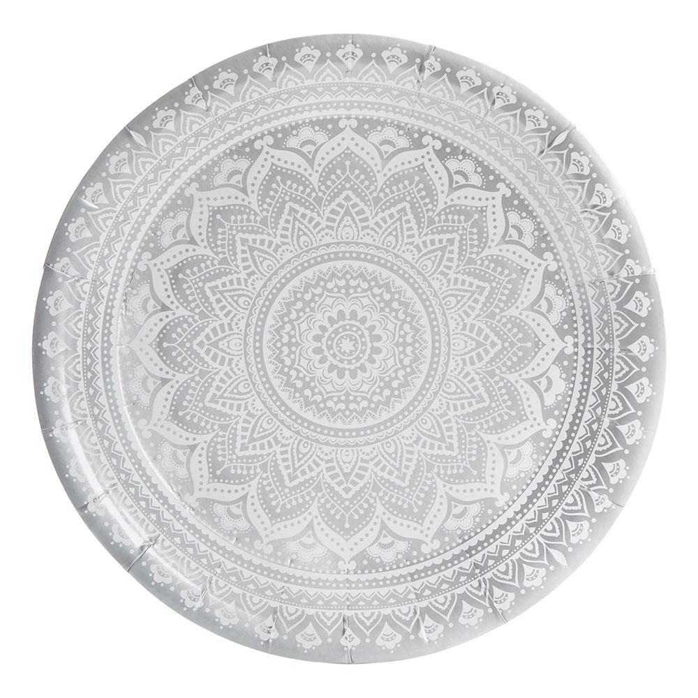 Toppen Papperstallrikar Mandala Silver Metallic - Partykungen.se LF-62
