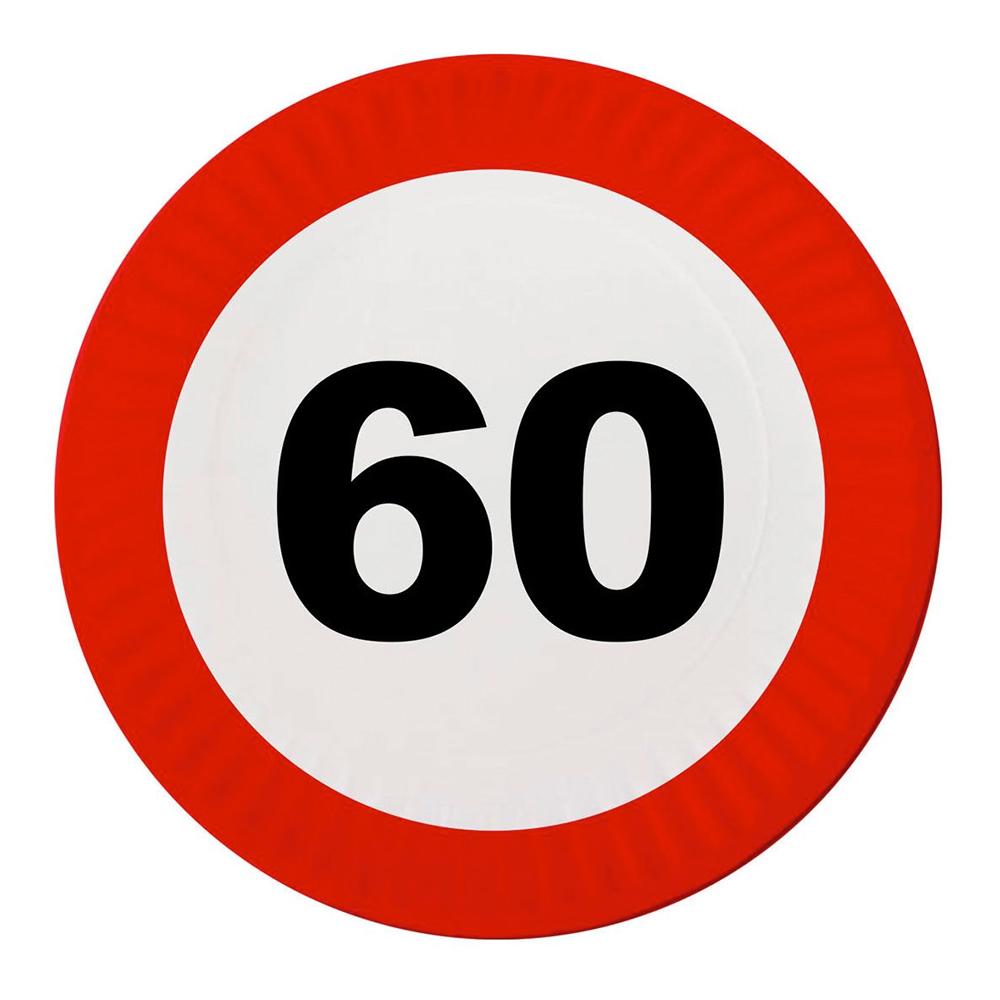Papperstallrikar Trafikskylt 60