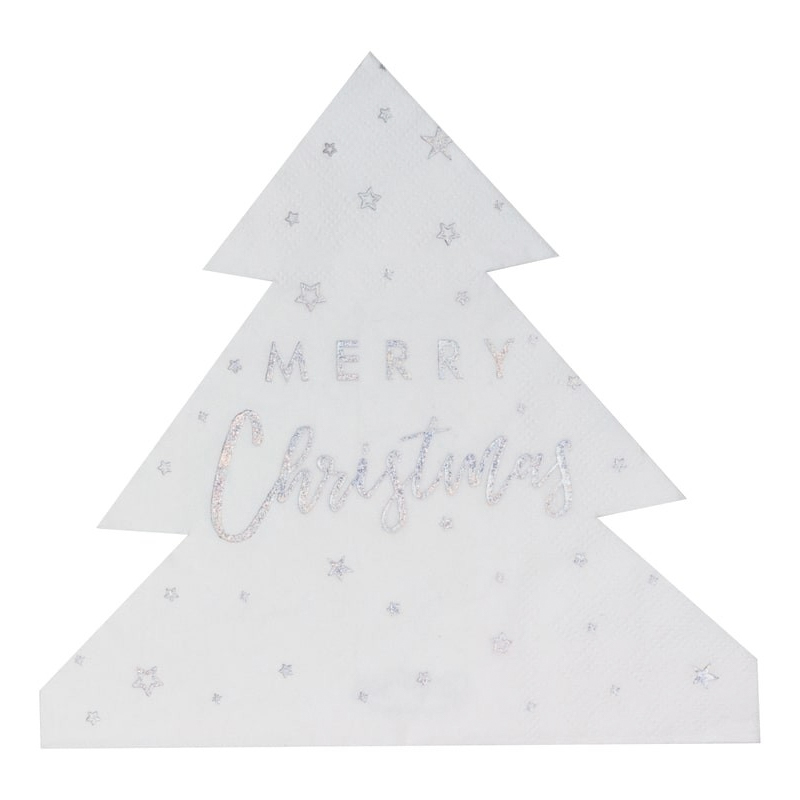 Servetter Julgran Merry Christmas Vit/Silver