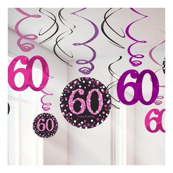 Swirls 60 Rosa Hängande Dekoration