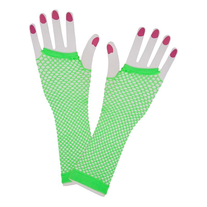 80-tals Fingerlösa Näthandskar - Neongrön