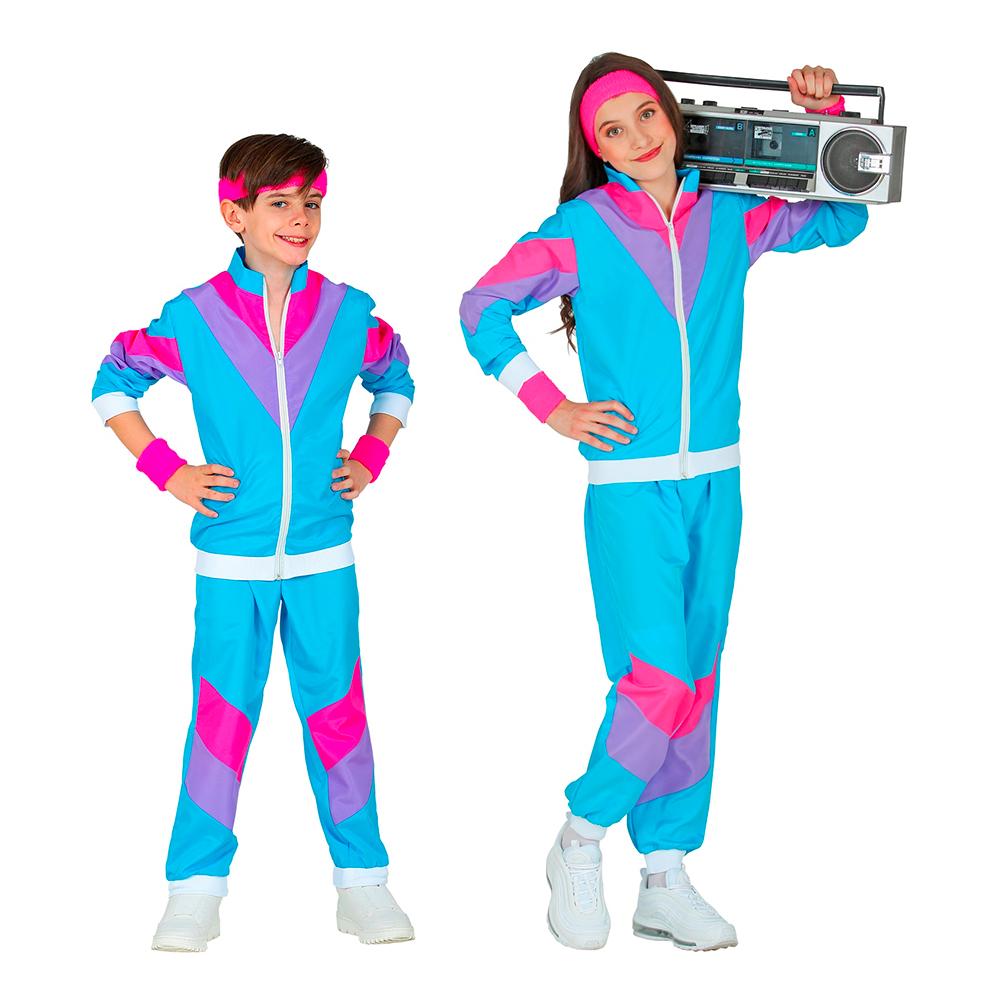 80-tals Träningsoverall Ljusblå Barn Maskeraddräkt - Medium