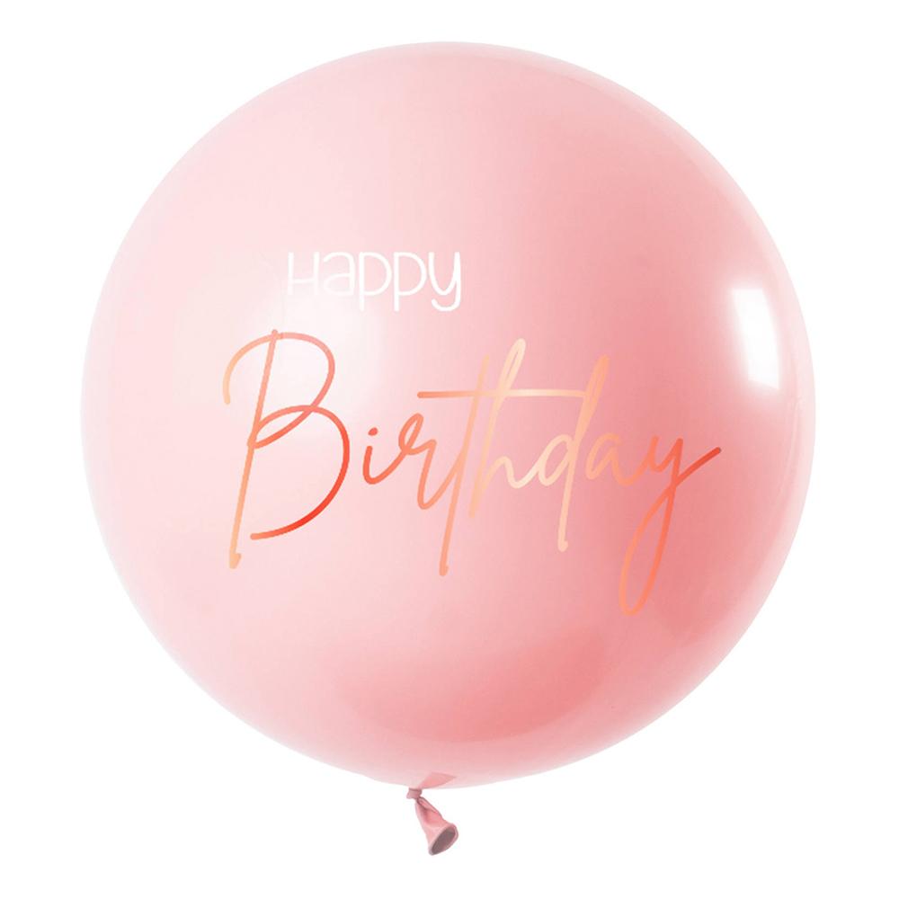 Ballong XL Happy Birthday Rund Lush Blush - 1-pack