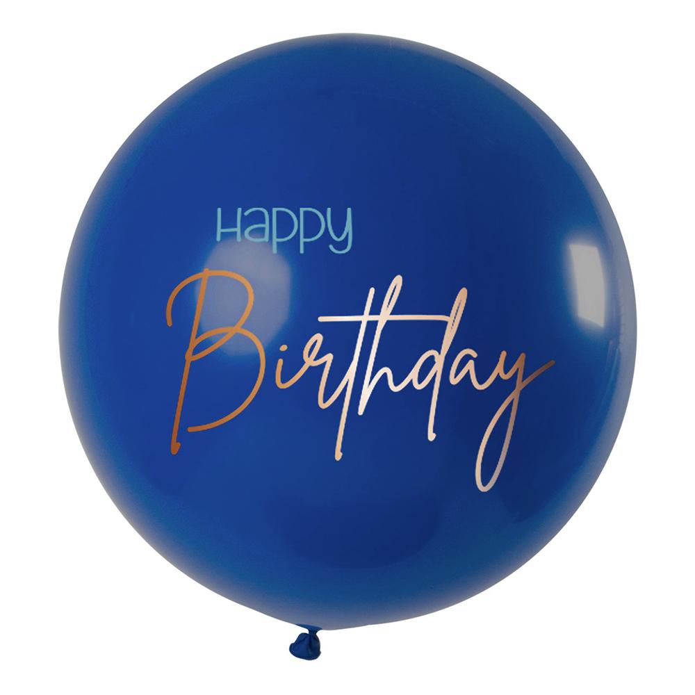 Ballong XL Happy Birthday Rund True Blue - 1-pack