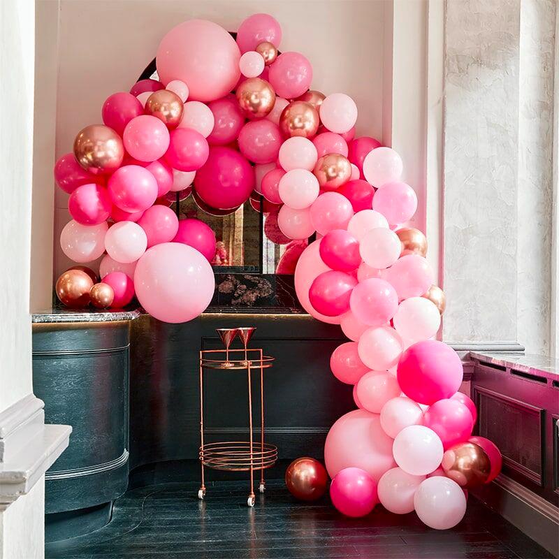 Ballongbåge Deluxe Rosa/Roséguld