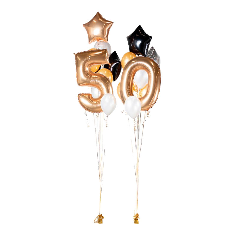 Ballongbukett Happy Birthday 50 Guld