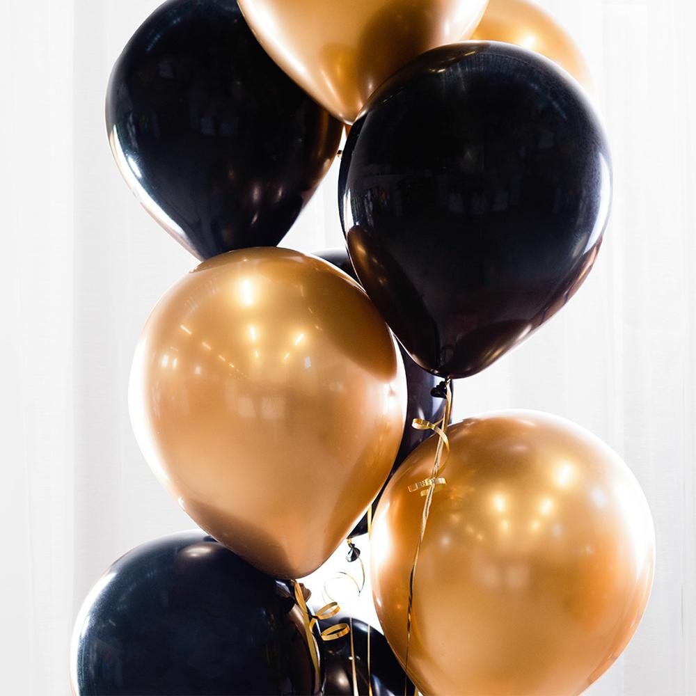 Ballongbukett Svart/Guld