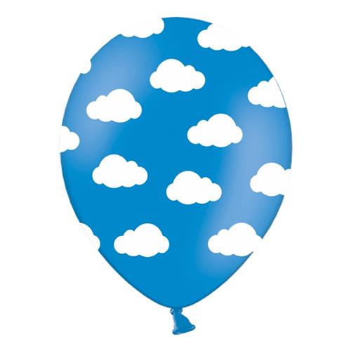 Ballonger Blåa med Moln - 6-pack