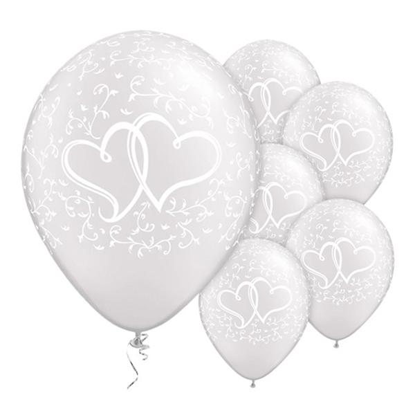 Bröllopsballonger - Ballonger Bröllop Hjärtan Vita - 25-pack