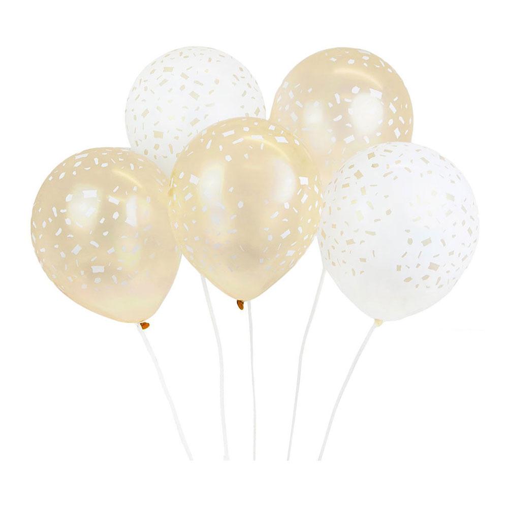 Ballonger Guld/Vit Konfetti - 5-pack