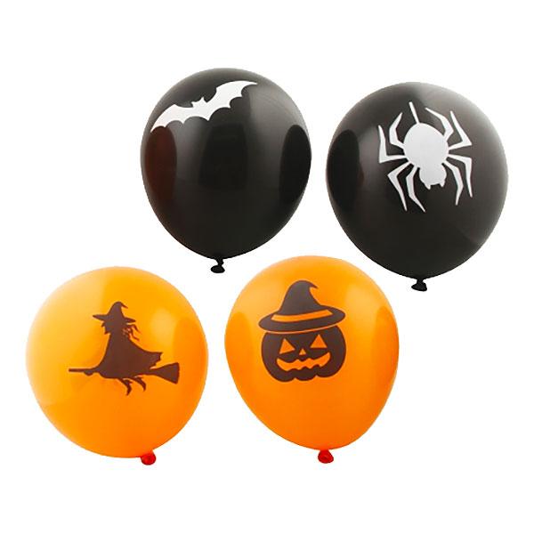 Ballonger Halloween Svart/Orange - 8-pack