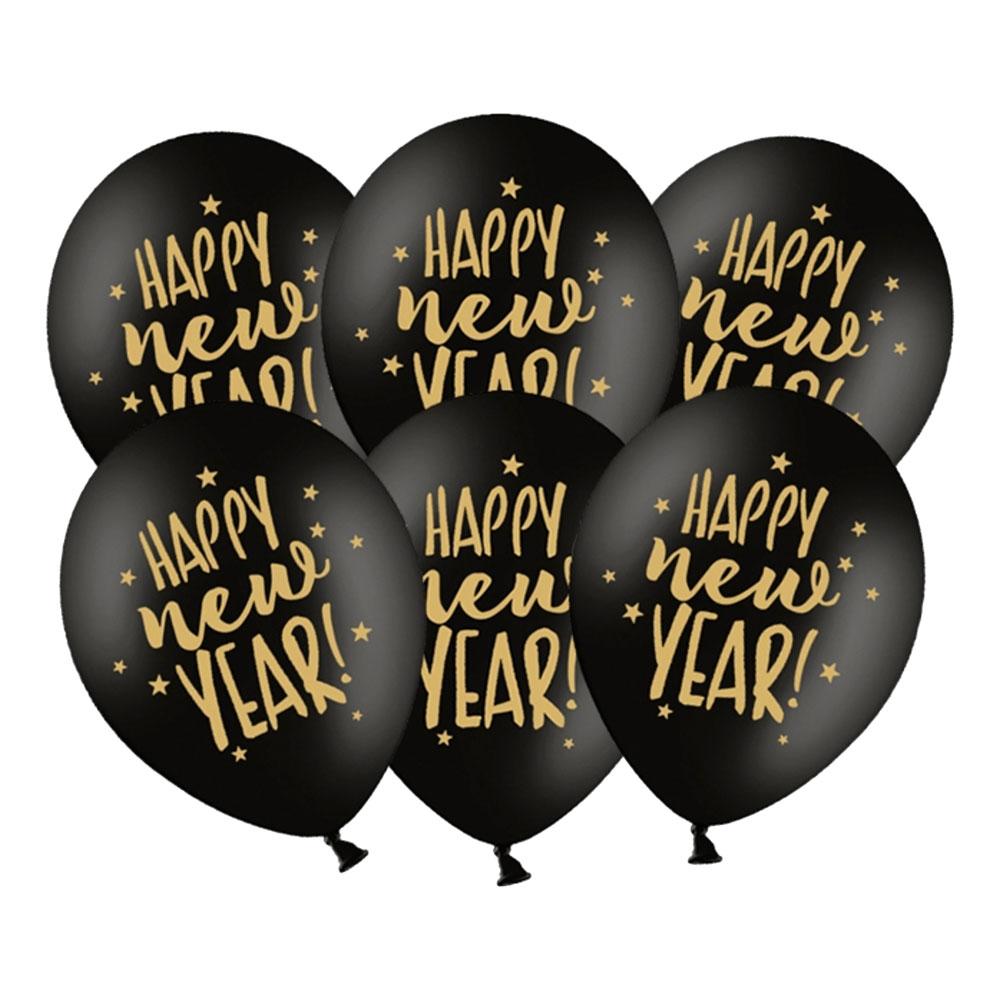 Ballonger Happy New Year Svart/Guld - 6-pack
