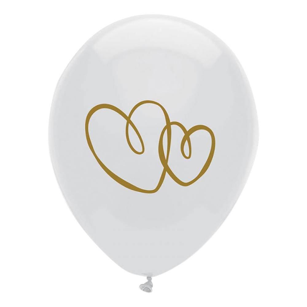 Ballonger Hjärtan Vit/Guld - 10-pack