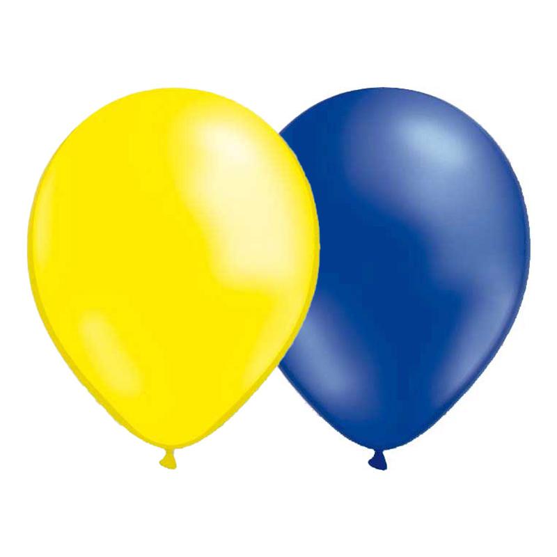 Ballonger Metallic Blå/Gul - 10-pack