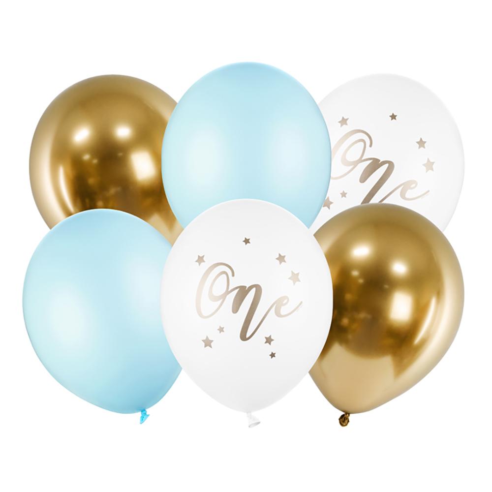 Ballonger One Ljusblå/Guld - 6-pack
