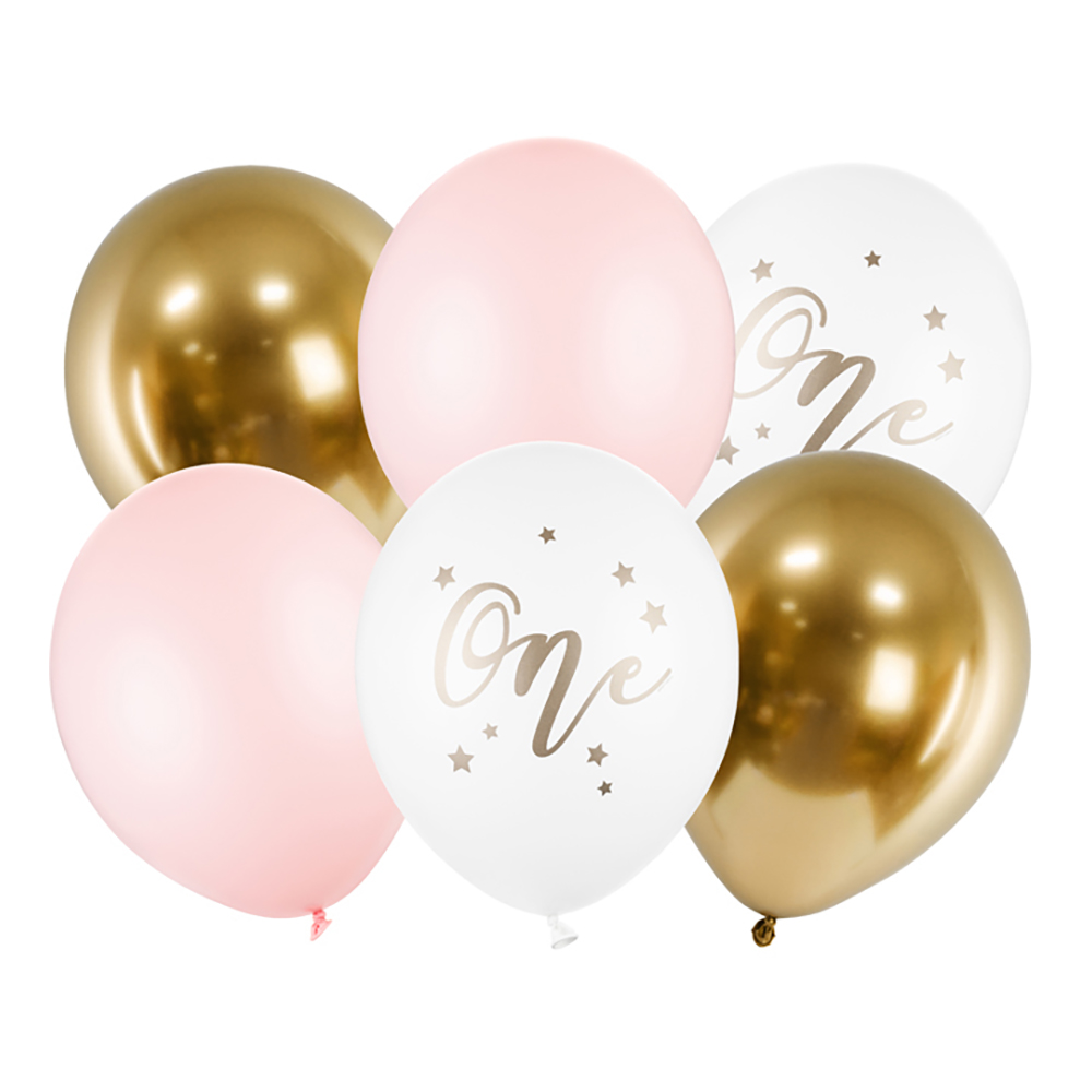 Ballonger One Ljusrosa/Guld - 6-pack
