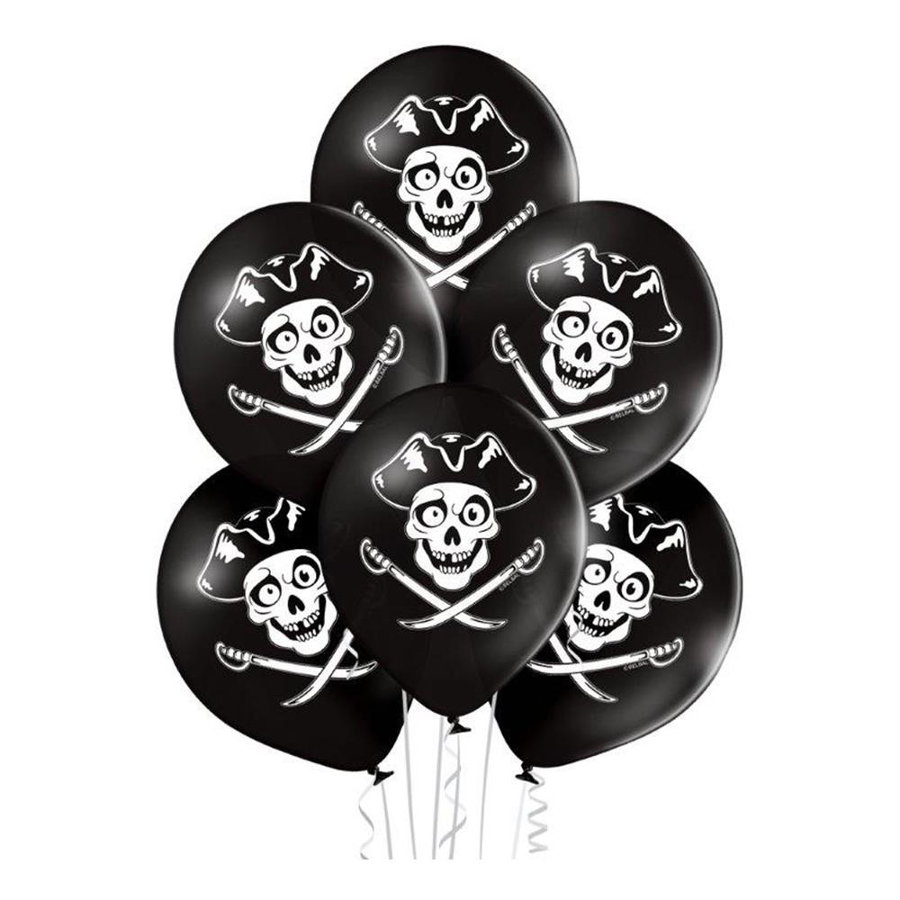 Ballonger Pirat Döskalle - 6-pack
