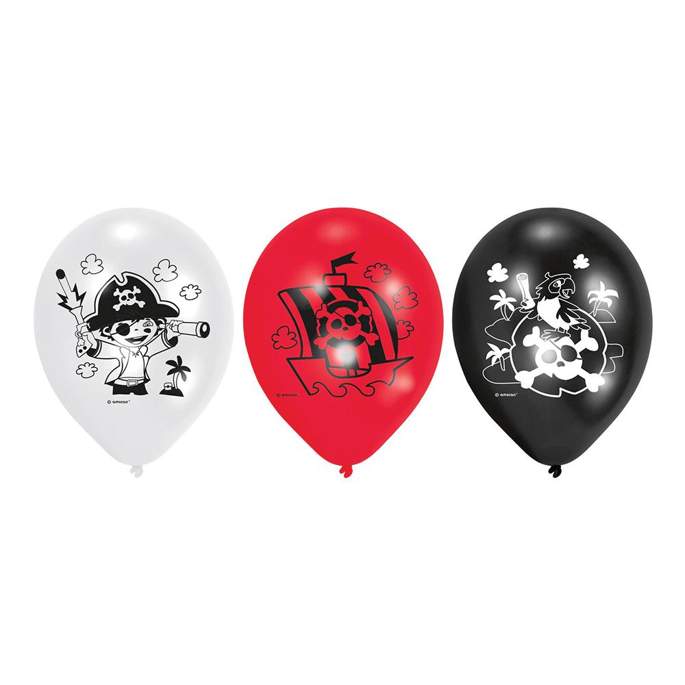 Ballonger Pirat Röd/Vit/Svart - 6-pack