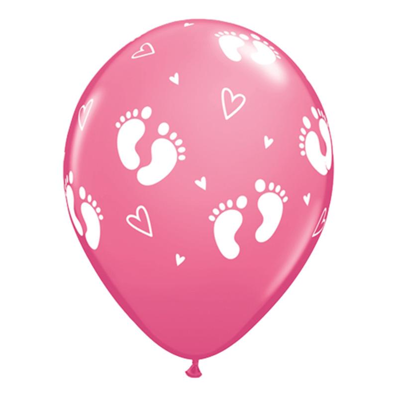Ballonger Rosa Fotspår och Hjärtan - 6-pack