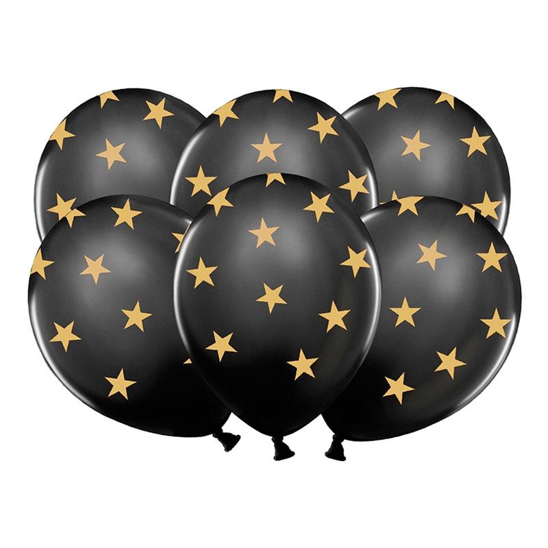 Ballonger Svarta med Stjärnor - 50-pack