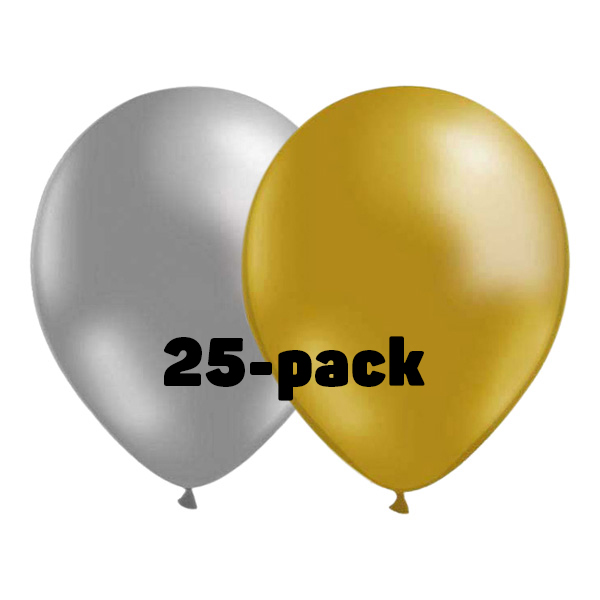 Ballongkombo Silver/Guld - 25-pack