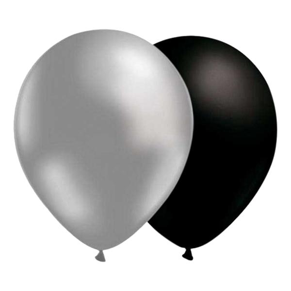 Ballongkombo Silver/Svart - 25-pack