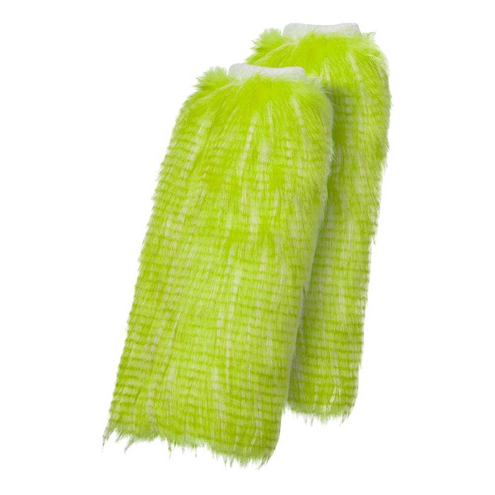Benvärmare i Plysch Neongrön - One size