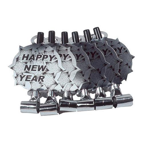 Blåsormar Happy New Year Silver - 6-pack