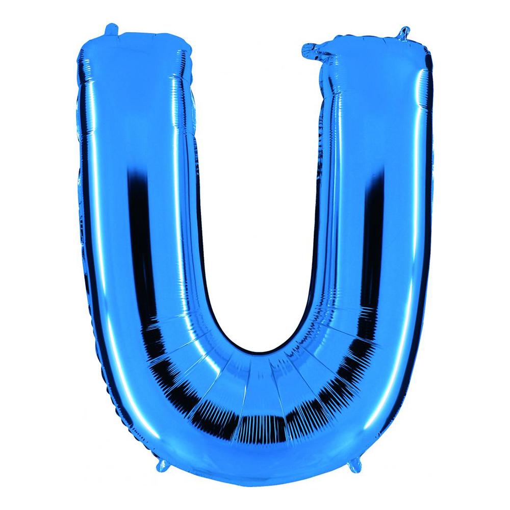 Bokstavsballong Blå Metallic - Bokstav U