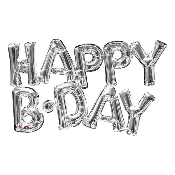 Bokstavsballong Happy B-Day Silver