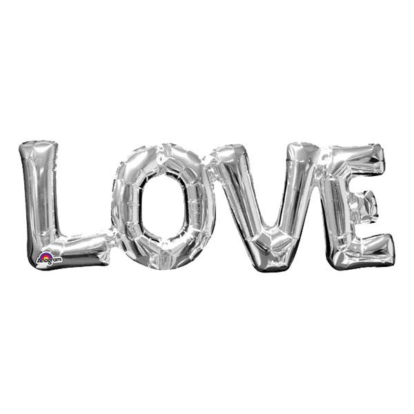 Bokstavsballong LOVE Silver