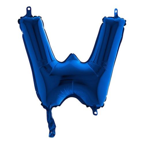 Bokstavsballong Mini Blå Metallic - Bokstav W