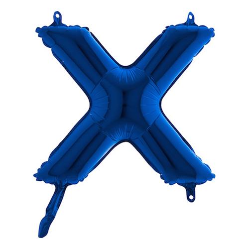 Bokstavsballong Mini Blå Metallic - Bokstav X