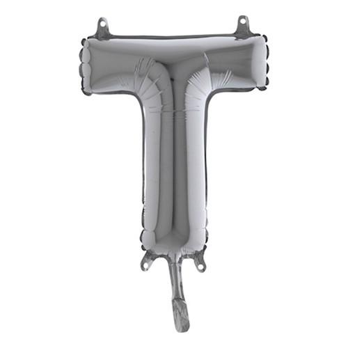 Bokstavsballong Mini Silver - Bokstav T