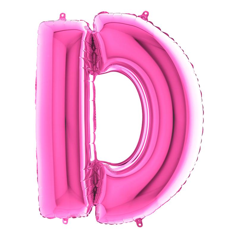 Bokstavsballong Rosa - Bokstav D