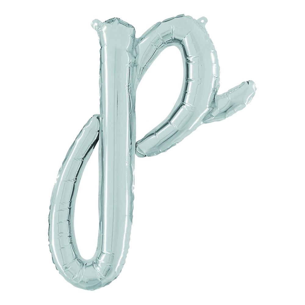 Bokstavsballong Script Silver - Bokstav P