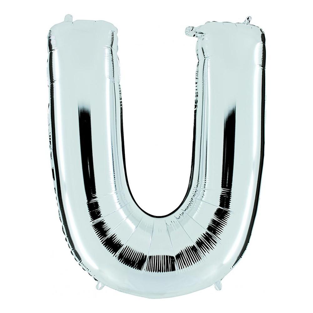 Bokstavsballong Silver - Bokstav U