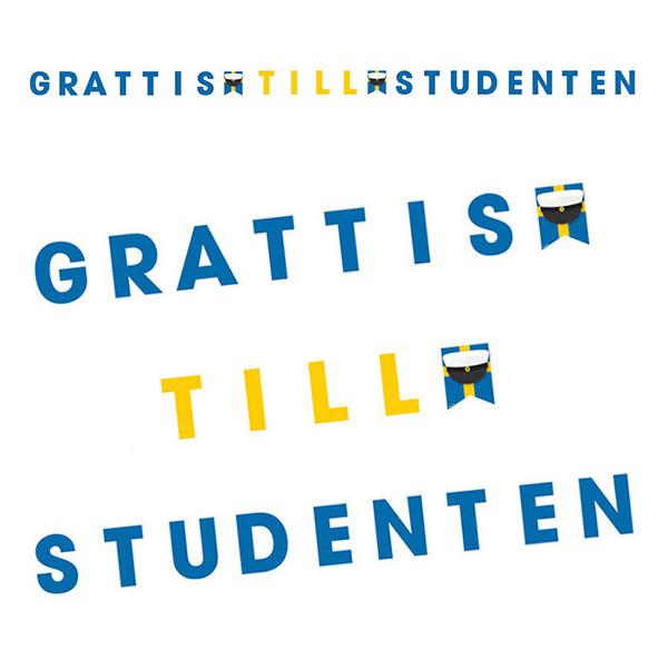 Bokstavsgirlang Grattis till Studenten