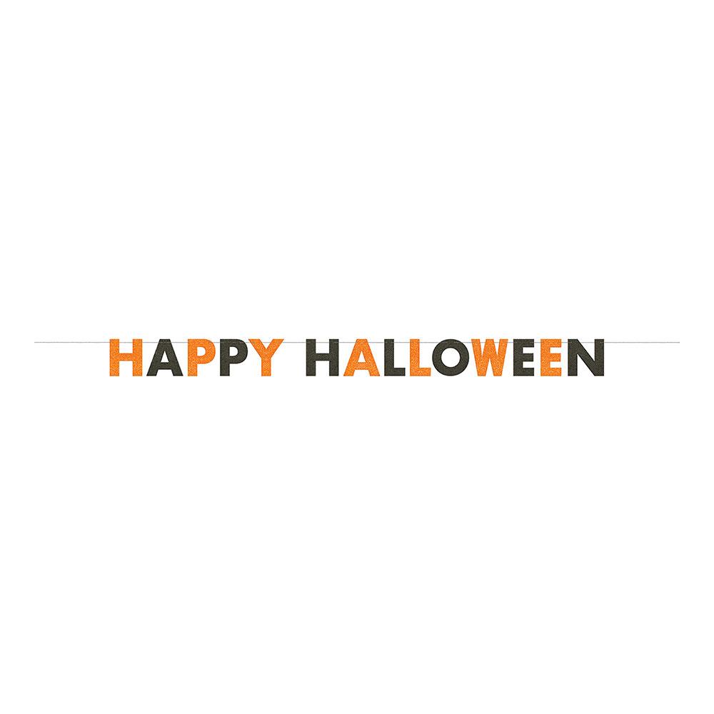 Girlang Happy Halloween Svart/Orange Glitter