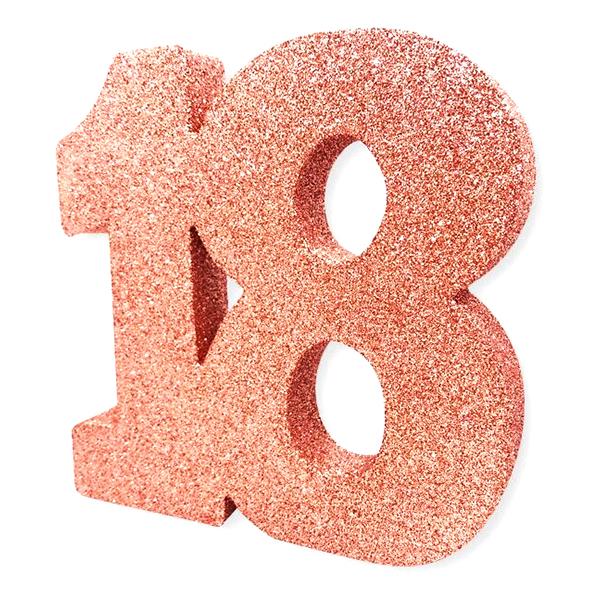 Bordsdekoration Siffra 18 Roséguld Glitter