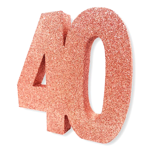Bordsdekoration Siffra 40 Roséguld Glitter | Hem//Teman//Festteman//Födelsedagsfest | Partyoutlet