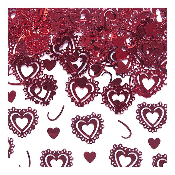Bordskonfetti Hjärtan Röd Metallic - 15 gram