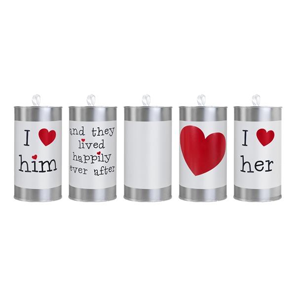 Bröllopsburkar Kärlek - 5-pack