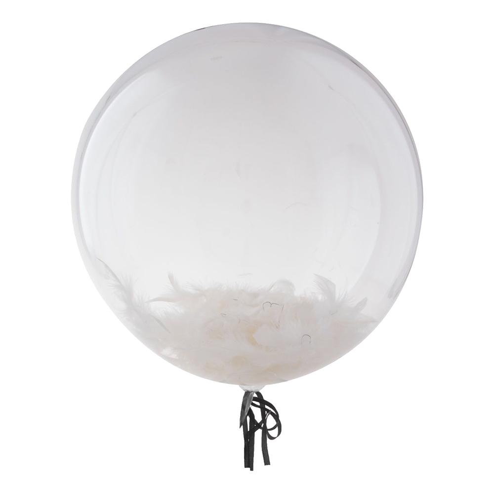 Bubbelballong med Vita Fjädrar - 1-pack