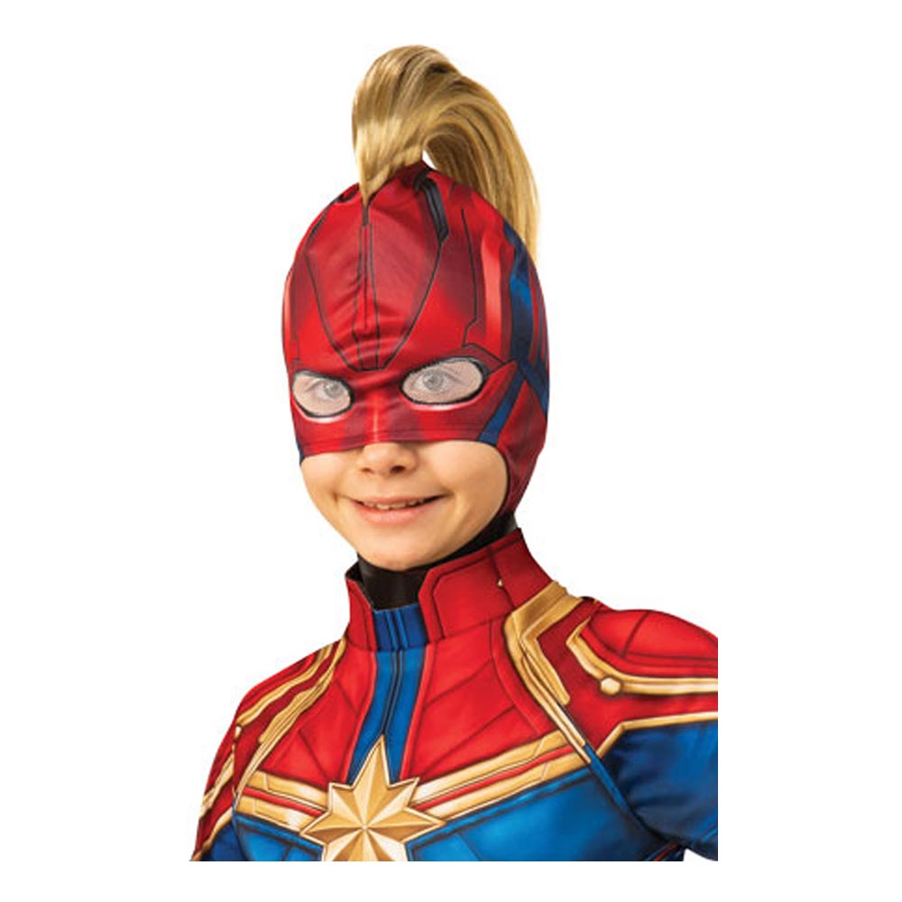 Captain Marvel Barn Mask med Hår - One size
