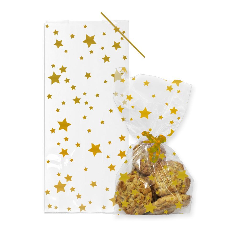 Cellofanpåsar Guldstjärnor med Åtdragning - 20-pack
